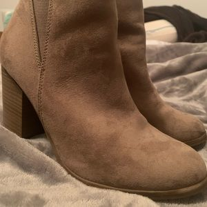 Tan booties worn once size 8